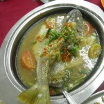 Steamed fish in broth