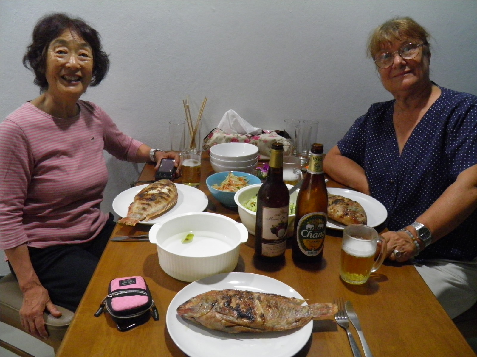 Jewel and Michiko BBQ fish dinner