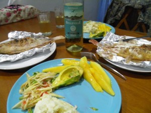 BBQ fish dinner & Aussie wine !!!
